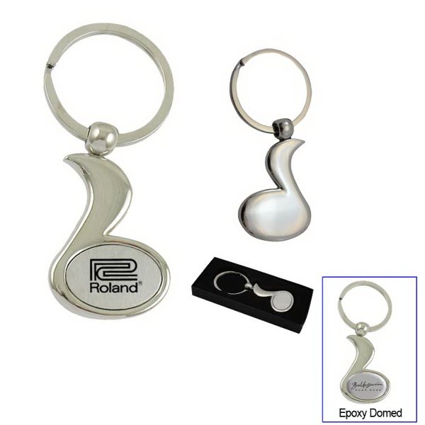 Music note chrome metal key chain