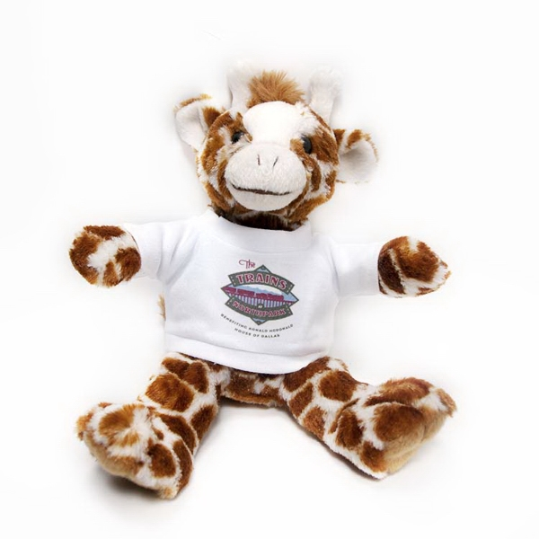 """8"""" Giraffe with T-shirt and Full Color Imprint"""