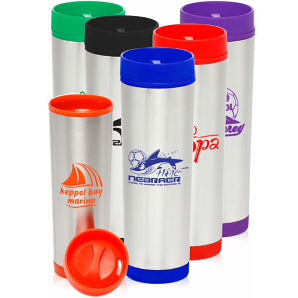 16 oz. Slim Color Top Travel Mugs