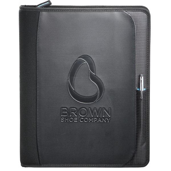 Zoom (r) - 2-in-1 Tech Sleeve Zip Padfolio, Dot Dobby Nylon With Scuba Photo