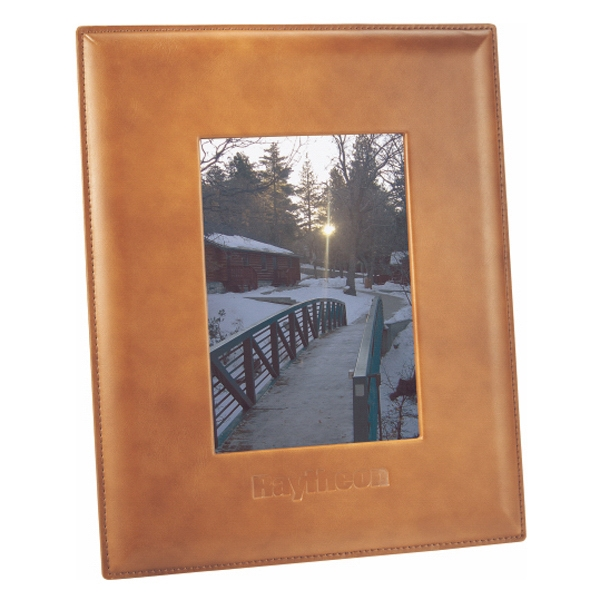 "Cutter & Buck (r) - Leather Picture Frame, Holds 5"" X 7"" Photo In Either Portrait Or Landscape Photo"