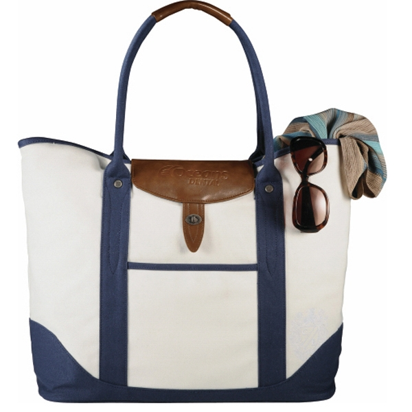 Cutter & Buck (r) - Cotton Boat Tote Made Of Genuine Saddle Leather And Cotton Canvas Photo