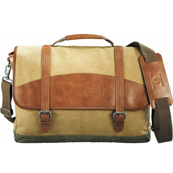 Cutter & Buck (r) - Genuine Saddle Leather And Cotton Canvas Computer Messenger Bag Photo