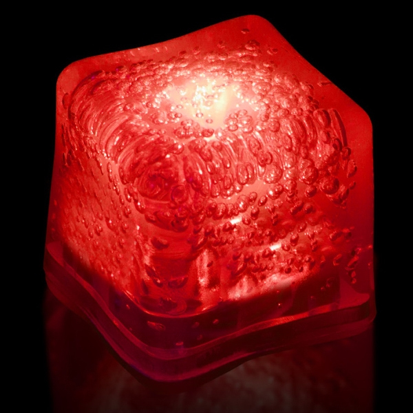 Red Light Up Premium LitedIce Brand Ice Cube, Blank