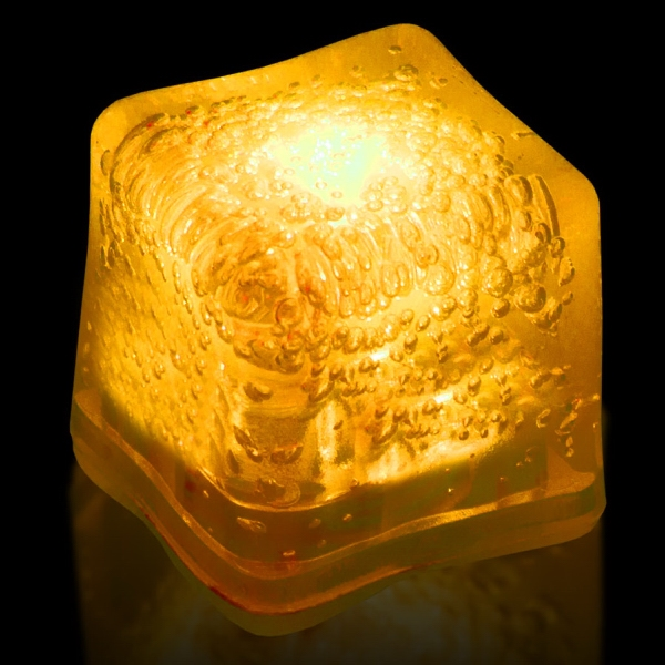 Yellow Light Up Premium LitedIce Brand Ice Cube, Blank