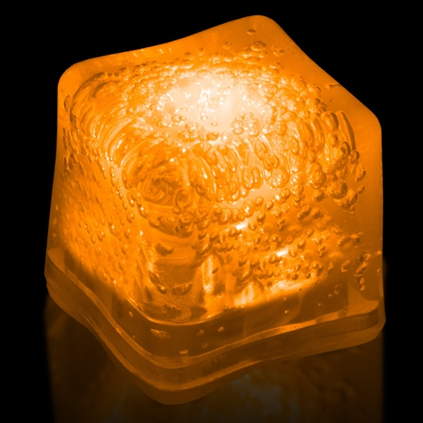 Orange Light Up Premium LitedIce Brand Ice Cube, Blank