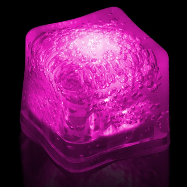 Pink Light Up Premium LitedIce Brand Ice Cube, Blank