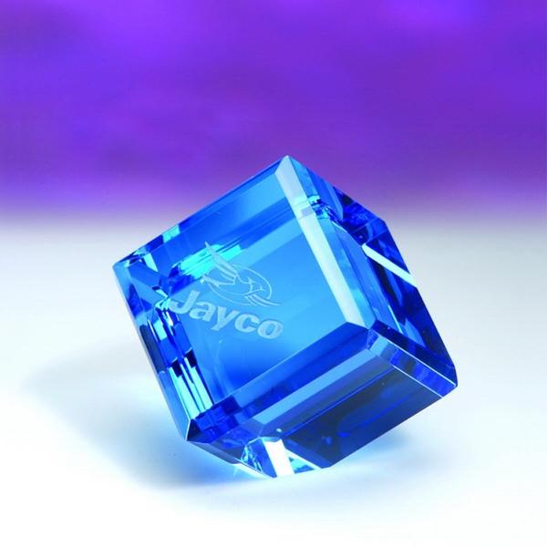 "Award-Blue Standing Cube 2 3/4"""