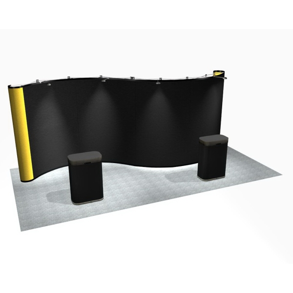 Serpentine all fabric kit (20 ft) - Premium pop up display with 20 ft. serpentine frame and 10 fabric panels.