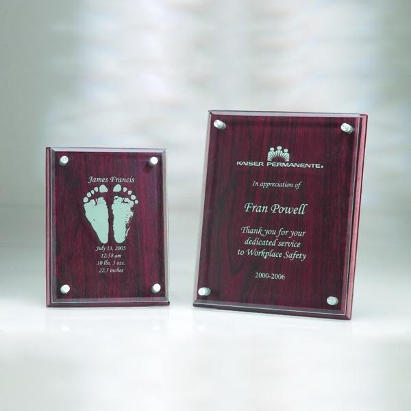 """Award-Rosewood Plaque w/ Glass 6""""x8""""x1"""""""