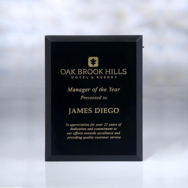 Award-Black Glass Plaque 6-inch x 8-inch x 5mm