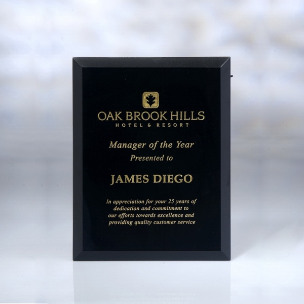 "Award-Black Glass Plaque 7"" x 9"" x 5mm"