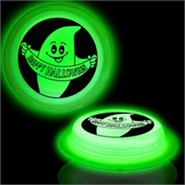 Glow Round Badge - Happy Halloween - Green