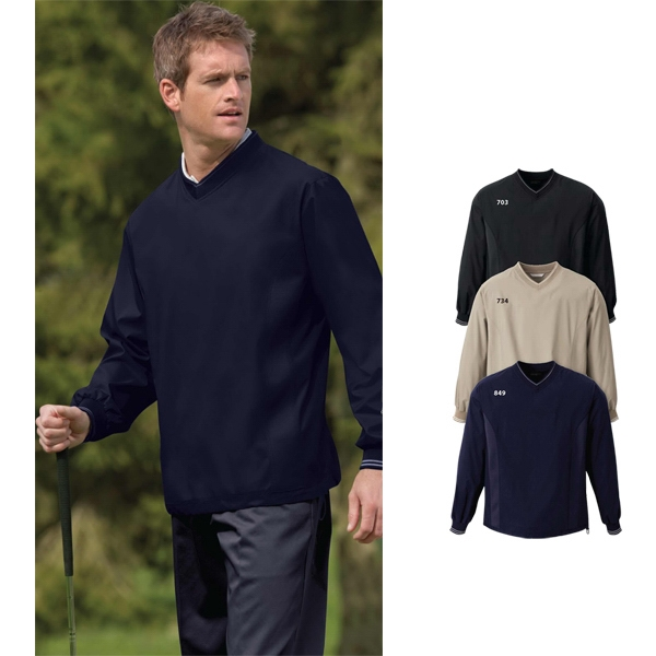 North End (r) - S- X L - Men's V-neck Unlined Windshirt With Accent Tipping On Rib Knit Neckline And Cuffs Photo