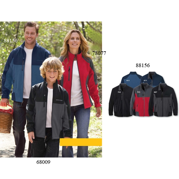 North End (r) Compass - Colors 4 X L - Men's Color-block 3-layer Fleece Bonded Soft Shell Jacket Photo