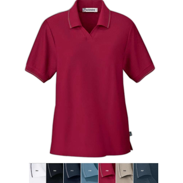 Extreme Edry (r) -  X S- X L - Ladies' Cotton Blend Mini Ottoman Polo With Jacquard Flat Knit Collar And Cuffs Photo