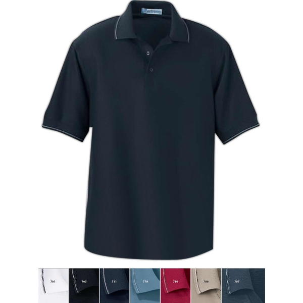 Extreme Edry (r) - S- X L - Men's Cotton Blend Mini Ottoman Polo With Jacquard Flat Knit Collar And Cuffs Photo