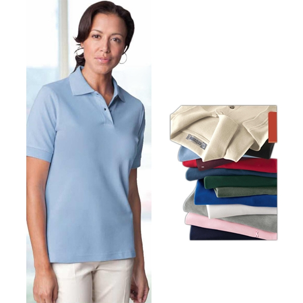 S- X L - Ladies' Extreme Cotton Pique Polo Shirt With Matching Flat Knit Collar And Cuffs Photo