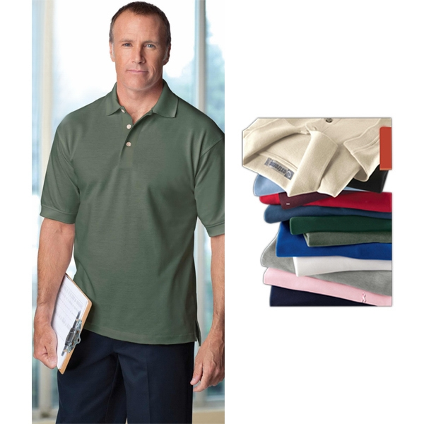 S- X L - Men's Extreme Cotton Pique Polo Shirt With Matching Flat Knit Collar And Cuffs Photo