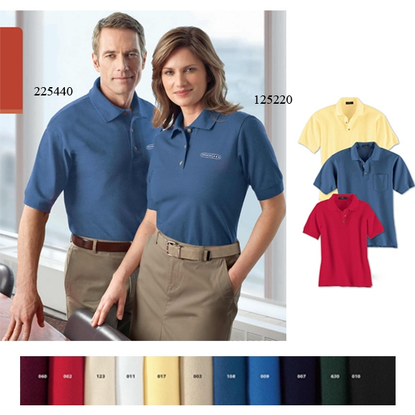 S- X L - Ladies' Cotton Pique Polo Shirt With Matching Flat Knit Collar And Cuffs Photo