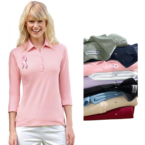 X S- X L - Ladies' Extreme 3/4 Sleeve Stretch Jersey Polo Photo