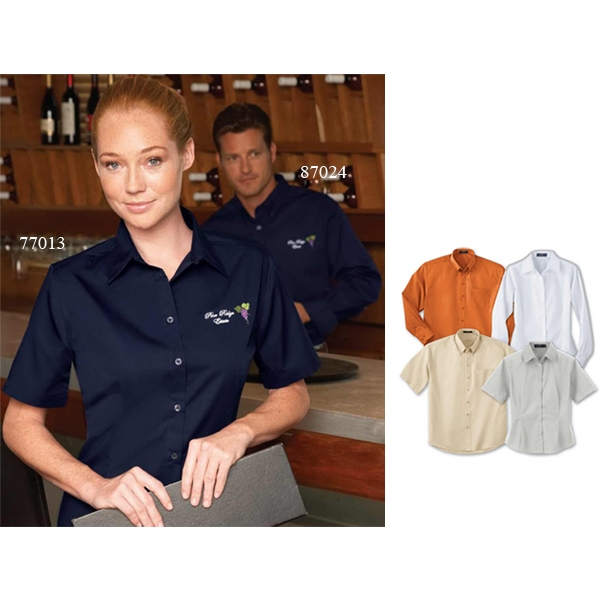 S- X L - Ladies' Performance Short Sleeve Easy Care Teflon (r) Shirt Photo