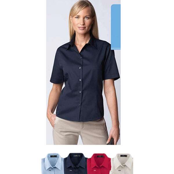 3 X L - Ladies' Easy Care Short Sleeve Twill Shirt With Front And Back Waist Darts Photo