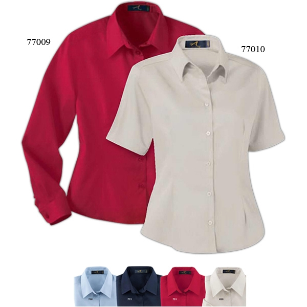 S- X L - Ladies' Easy Care Long Sleeve Twill Shirt With Front And Back Waist Darts Photo