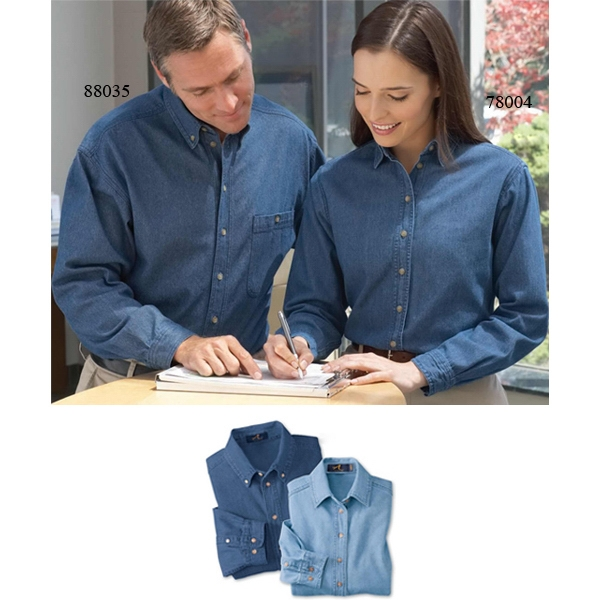 2 X L - Ladies' Cotton Denim Shirt That Is Preshrunk Photo