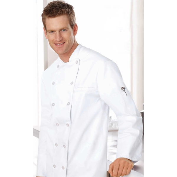 North End (tm) - S- X L - Unisex Deluxe Chef's Coat With Left Chest Welt Pocket Photo
