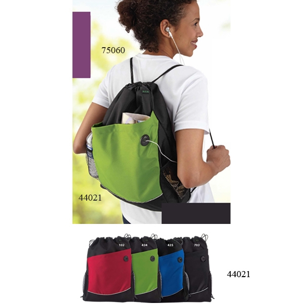 North End (r) - Recycled Polyester Cinch Pack With Deep Front Pocket With Audio Port Photo