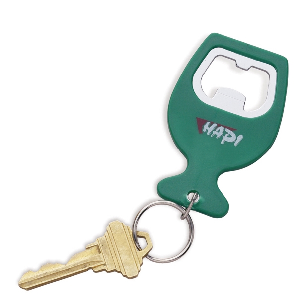 Keychain With Bottle Opener And Split Ring Made From Plastic. Closeout Photo