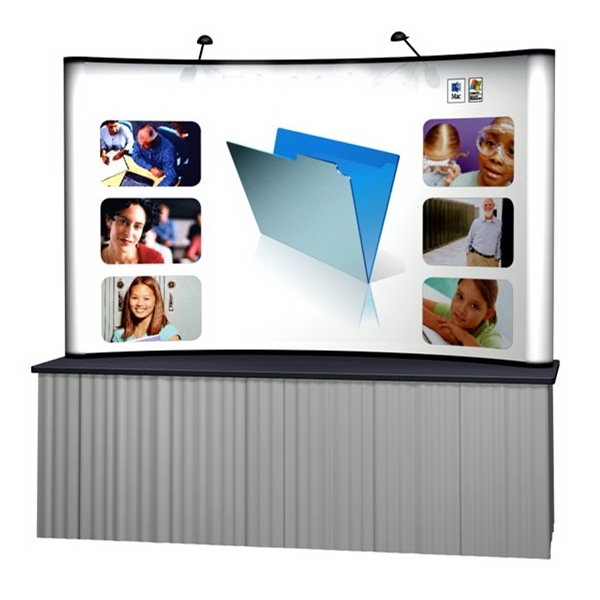 8 ft curve tabletop - Pop-up display with one 8 ft. tabletop frame and 5 graphic panels.