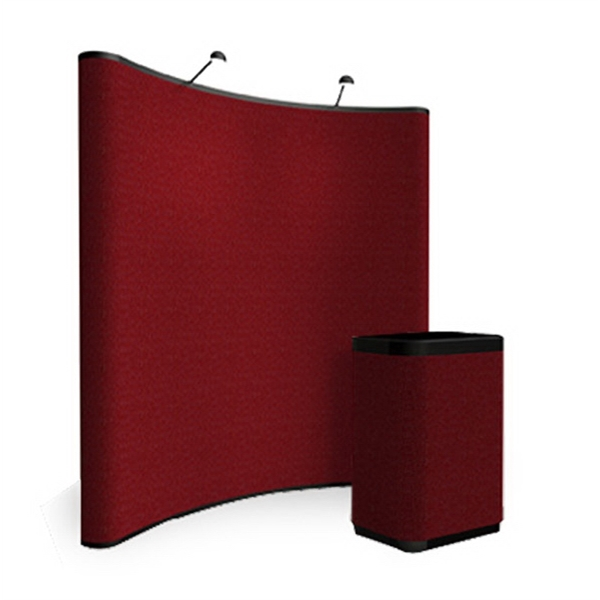 Curve all fabric kit - 8 ft. pop up display with frame and hinged channel bars.