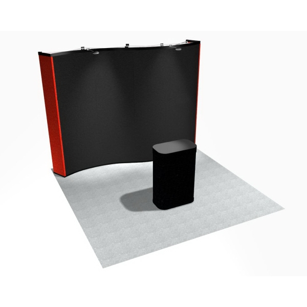 Curve all fabric kit - 10 ft. wave pop up display with frame and 6 fabric panels.
