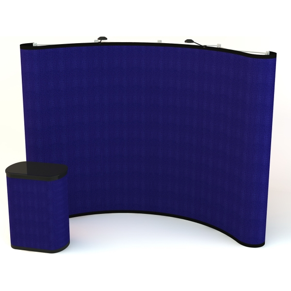 All Fabric Kit (10 ft) - Pop-up display with a curved 10 ft. frame and 6-fabric panels.