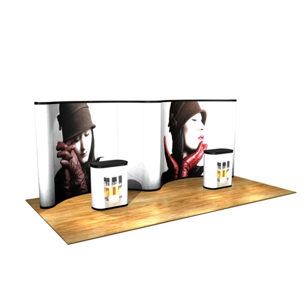 20' Gullwing all graphics kit - Pop up display with frame, hinged channel bars, 11 graphic panels, 20'.