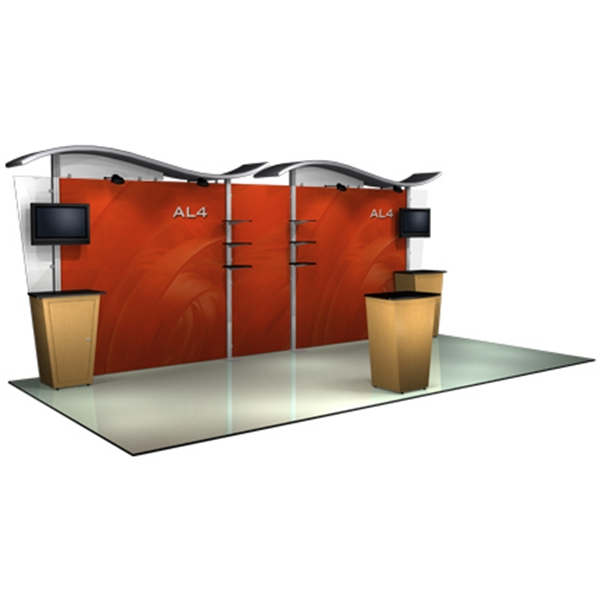 Alumalite wave hybrid system 20 ft - 20ft. modular display system, back wall, wave canopy, and canopy cover.