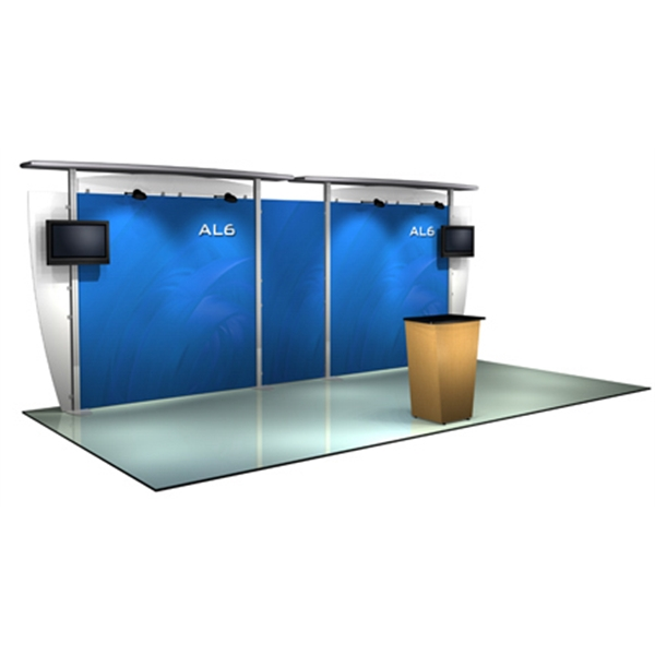 Alumalite straight 20 ft - 20ft. modular display system, back wall, straight canopy and canopy cover.
