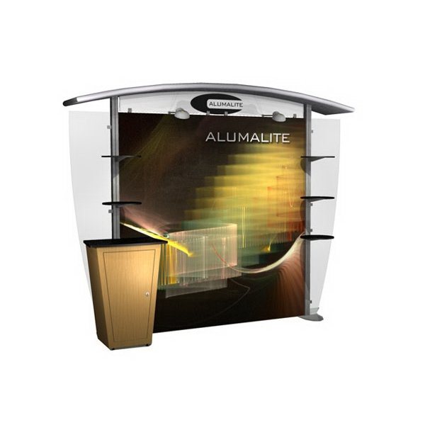 Alumalite Classic arch hybrid system - 10ft. modular display system, back wall, arch canopy and canopy cover.