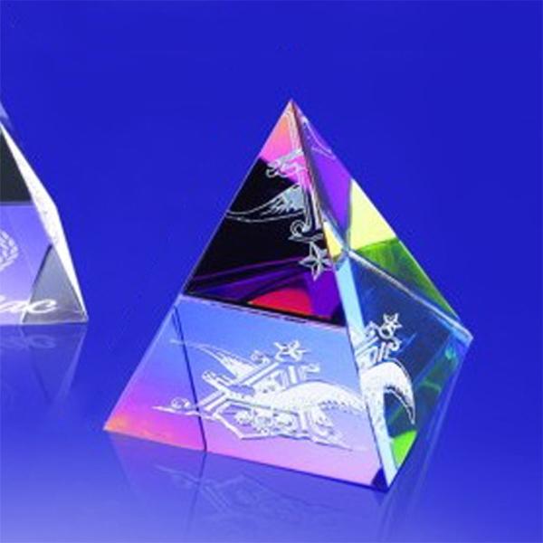 "Award-Rainbow Colored Pyramid 3""h"