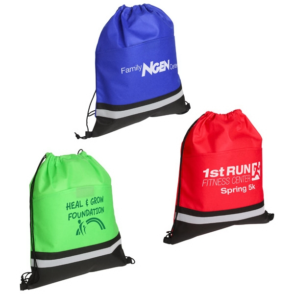 "Drawstring Bag With Safety Reflective Stripe On Front & 16"" Main Compartment Photo"