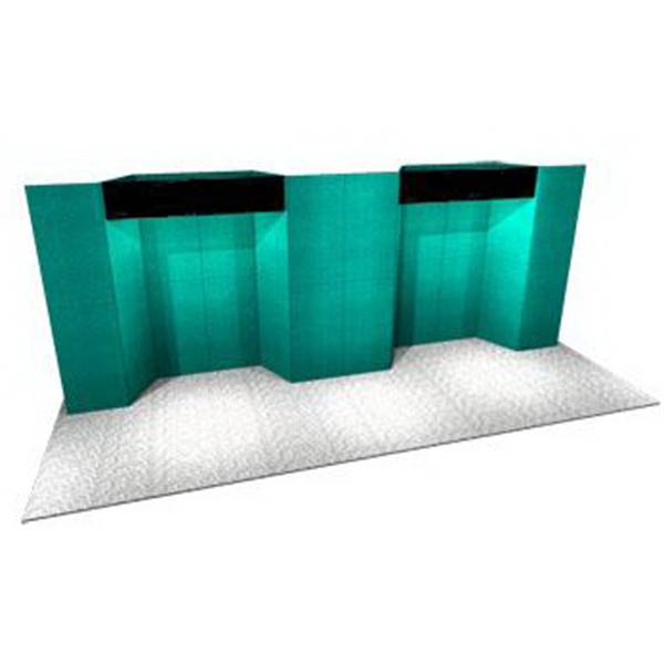 Fabric Panel Display System - Fabric 20ft. panel system with back wall, 2-plex headers, and four (4) 5-PCC cases.