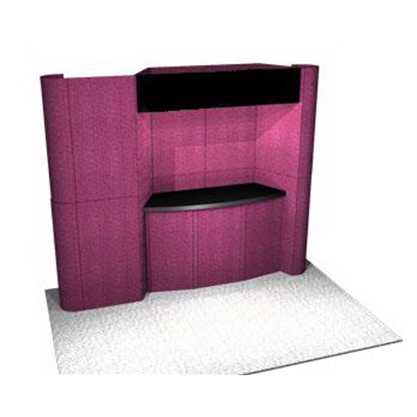 Fabric Panel Display System - Fabric 10ft. panel system with back wall, plex header, alcove counter and case.