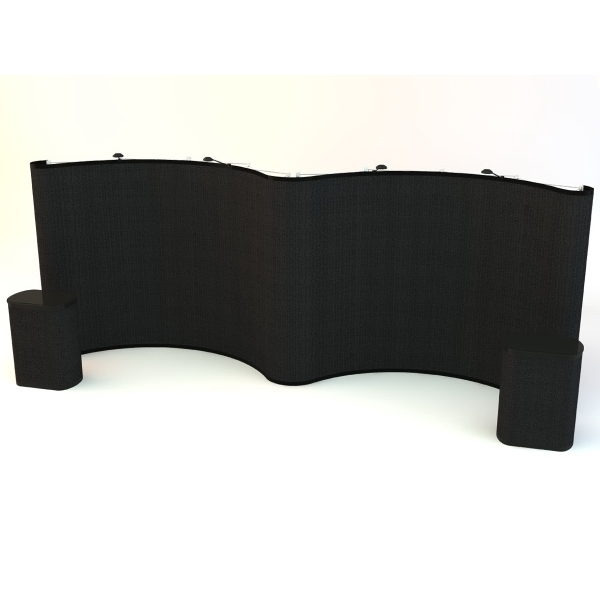 Gullwing all fabric kit (20ft) - Pop up display with frame, hinged bars and 11 fabric panels, 20'.