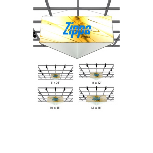 Zippa Triangle Hanging Sign - Hanging triangle sign package with aluminum frame and dye sub fabric.