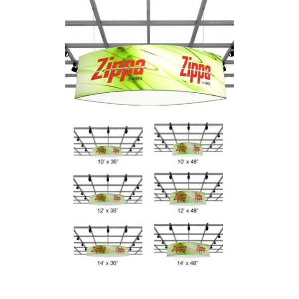 Zippa Football And Rectangle  Hanging Sign - Hanging sign package with frame, dye sub fabric and 2 carry bags.