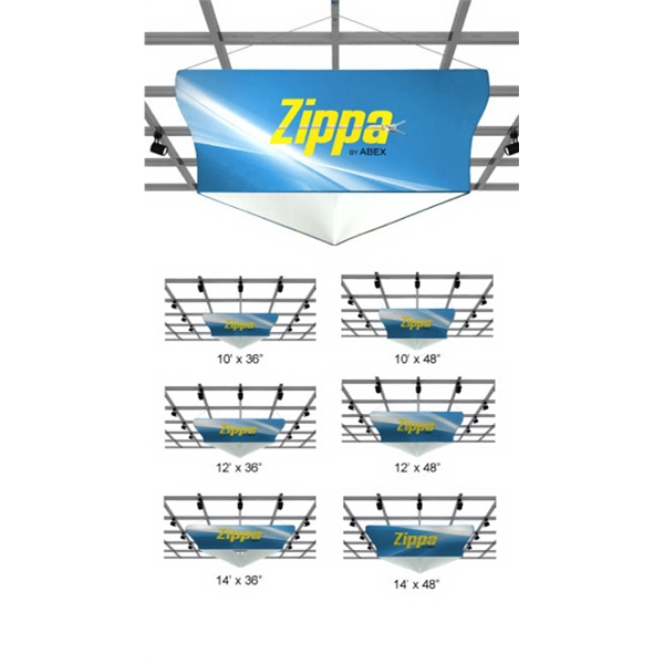 Zippa Tapered Triangle Hanging Sign - Hanging triangle sign package with frame, dye sub fabric and carry bag.