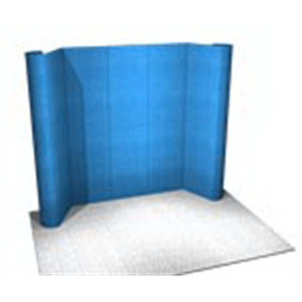Fabric Panel Display System - Fabric 10ft. panel system with back wall, header, alcove and peninsula counters.
