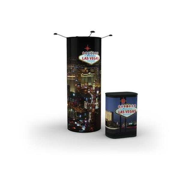 Tower Frontlit - Tower display front lit package with 3-poly film graphic mural panels.